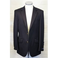 Navy Wool Blazer Single Breasted with Side Vents