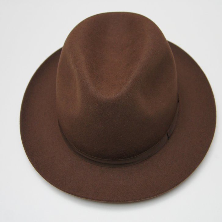 OLNEY Pure Fur Felt Brown Trilby with Genuine Leather Band