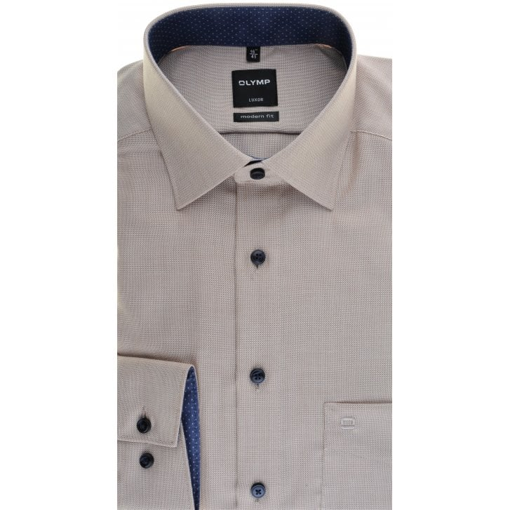 OLYMP Beige Cotton Trimmed Shirt Easy Care