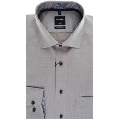 Beige Patterned Cotton Shirt with Trim