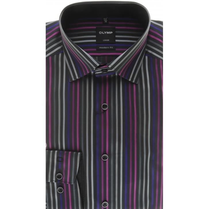 OLYMP Black Striped Luxor Cotton Shirt