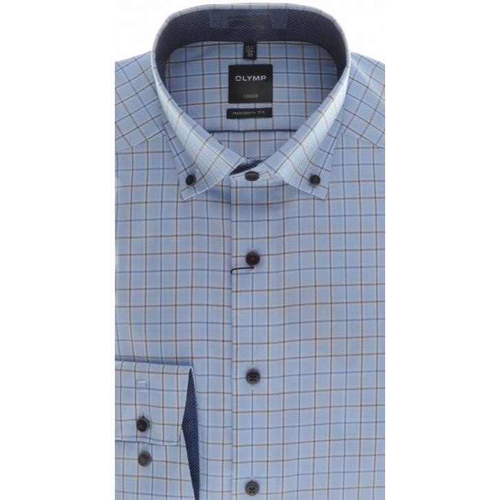 OLYMP Blue and Brown Check Cotton Shirt with Button Down Collar