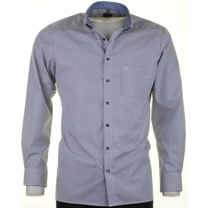 OLYMP Blue and Pink Check Cotton Shirt with Button Down Collar