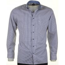 Blue and Pink Check Cotton Shirt with Button Down Collar