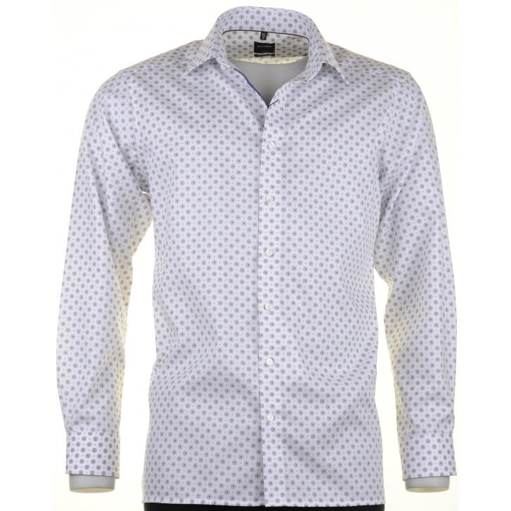 OLYMP Blue and Tan Fancy Design Cotton Shirt