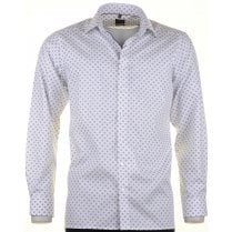 Blue and Tan Fancy Design Cotton Shirt
