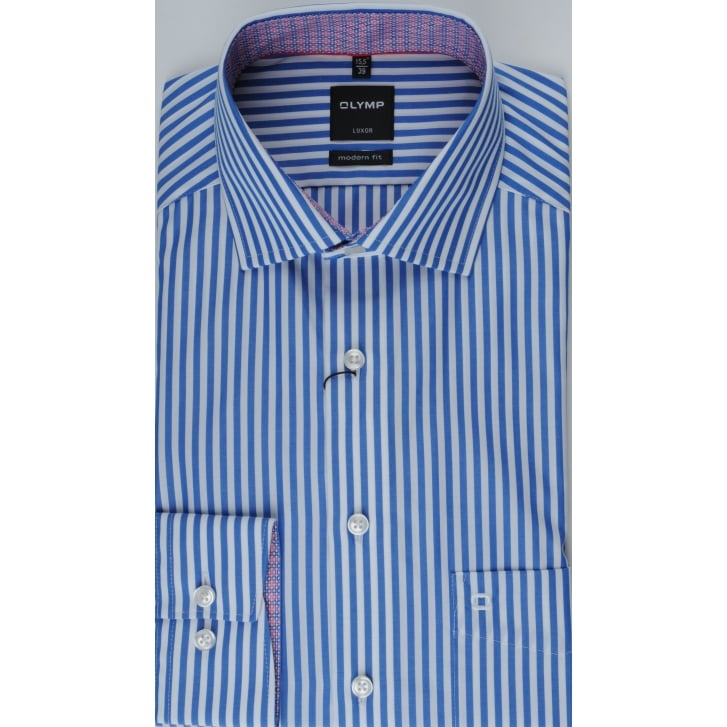 OLYMP Blue and White Bengal Stripe Cotton Shirt