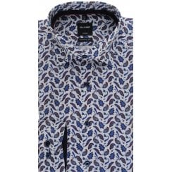 Blue and Wine Paisley Cotton Shirt