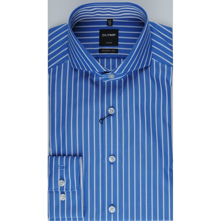 OLYMP Blue Butchers Stripe Cotton Shirt