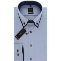 Blue Button Down Double Collar Cotton Shirt
