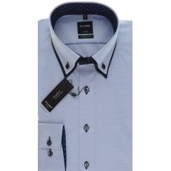 Blue Button Down Double Collar Cotton Shirt