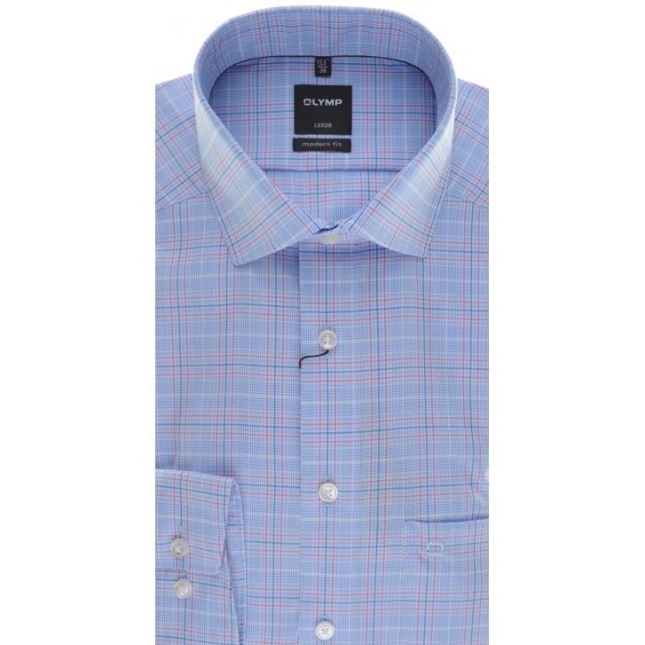 OLYMP Blue Check Non Iron Cotton Shirt