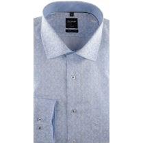 Blue Cotton Floral Print Long Sleeved Shirt