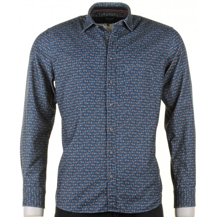 OLYMP Blue Floral Fine Soft Cord Cotton Casual Shirt