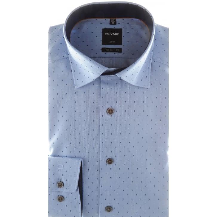OLYMP Blue Herringbone Patterned Cotton Shirt