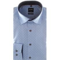 Blue Herringbone Patterned Cotton Shirt