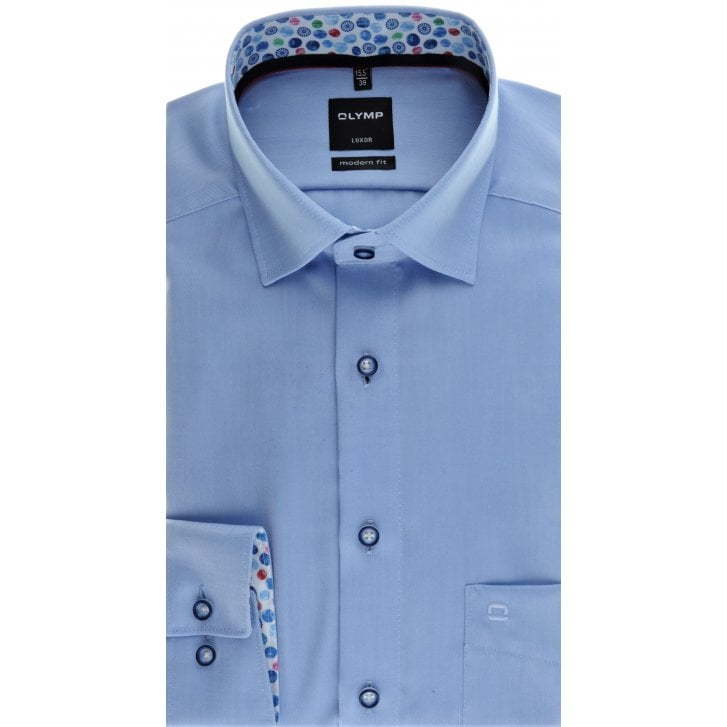 OLYMP Blue Oxford Button Down Collar Cotton Shirt