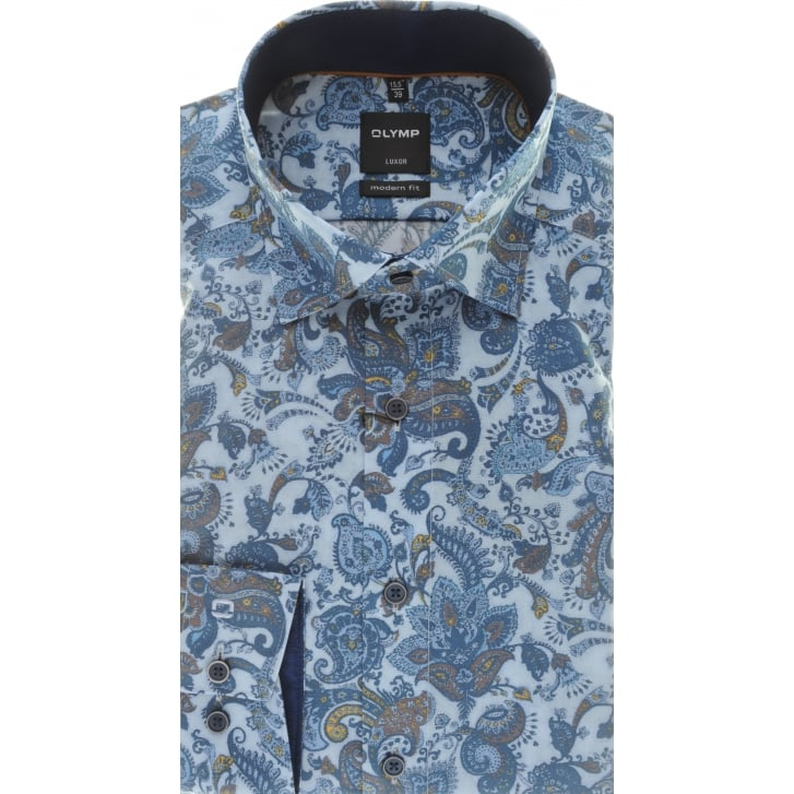 OLYMP Blue Paisley Luxor Cotton Shirt