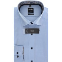 Blue Patterned Cotton Shirt with Trim