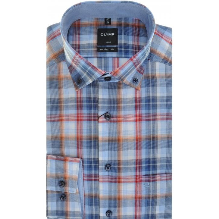 OLYMP Blue, Red and Orange Check Cotton Shirt with Button Down Collar