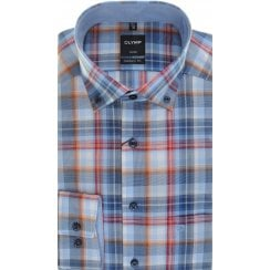 Blue, Red and Orange Check Cotton Shirt with Button Down Collar