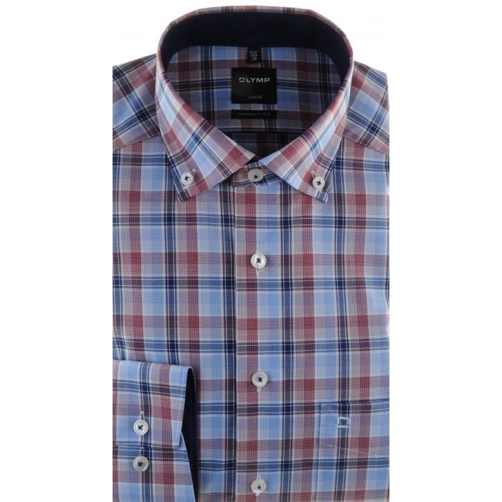 OLYMP Blue, Wine and Navy Check Cotton Shirt