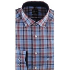 Blue, Wine and Navy Check Cotton Shirt