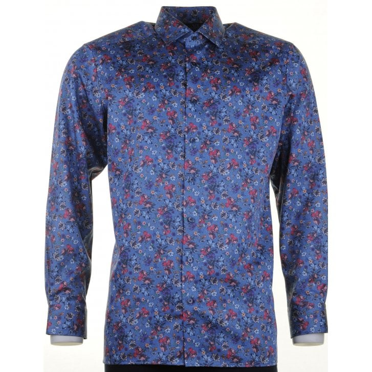 OLYMP Blue, Wine and Navy Floral Cotton Shirt