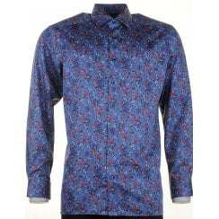 Blue, Wine and Navy Floral Cotton Shirt