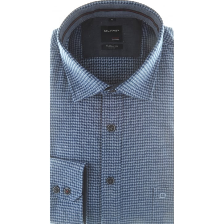 OLYMP Brushed Cotton Houndstooth Shirt in Blue or Wine