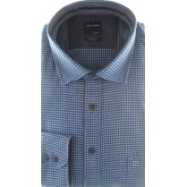 Brushed Cotton Houndstooth Shirt in Blue or Wine