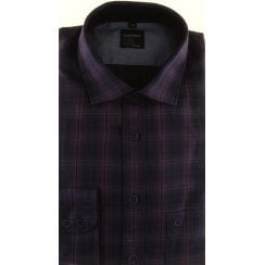 Casual Cotton Purple and Navy Check Shirt