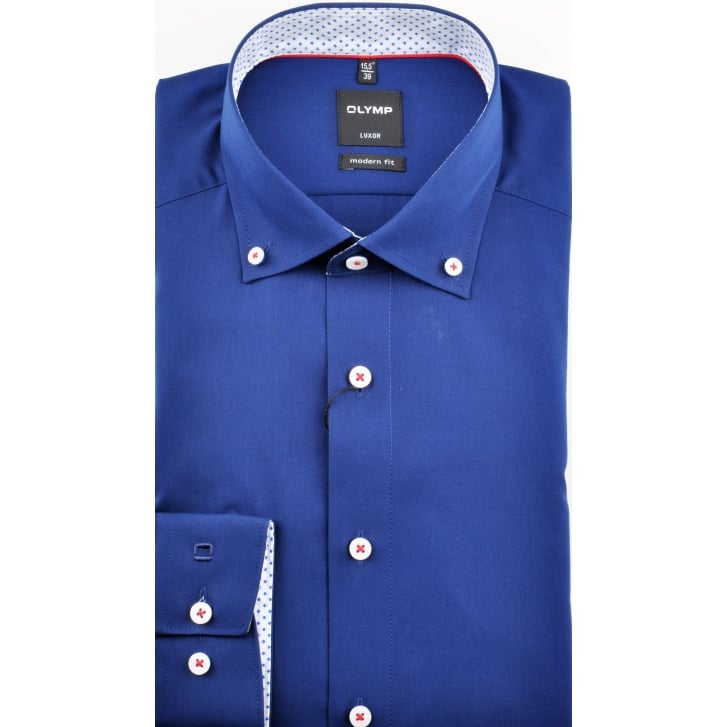 OLYMP Cotton Button Down Collar Shirt in Navy or White