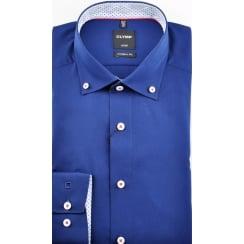 Cotton Button Down Collar Shirt in Navy or White