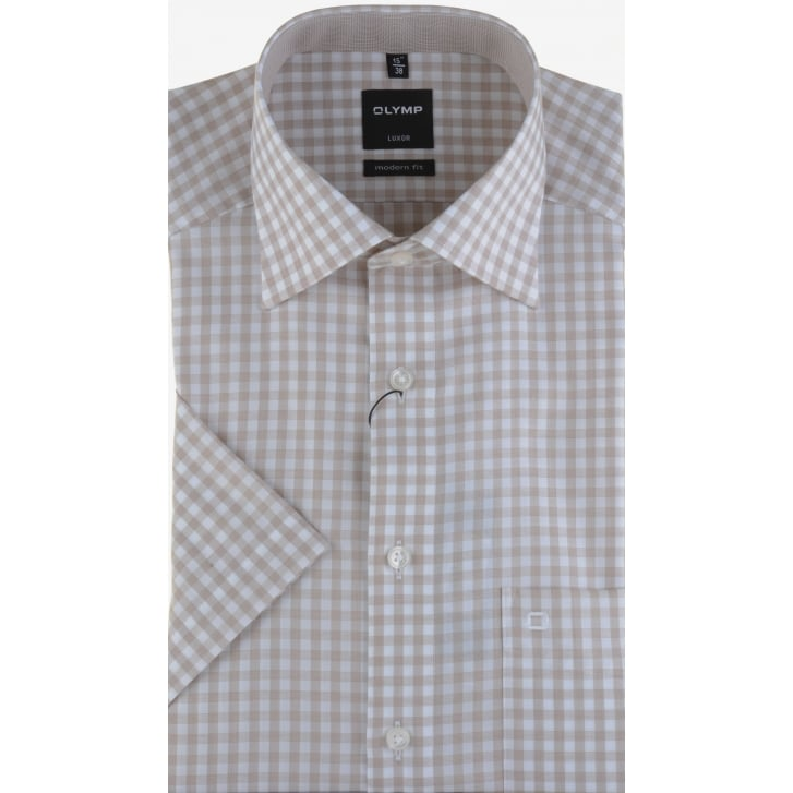 OLYMP Cotton Gingham Short Sleeved Shirt