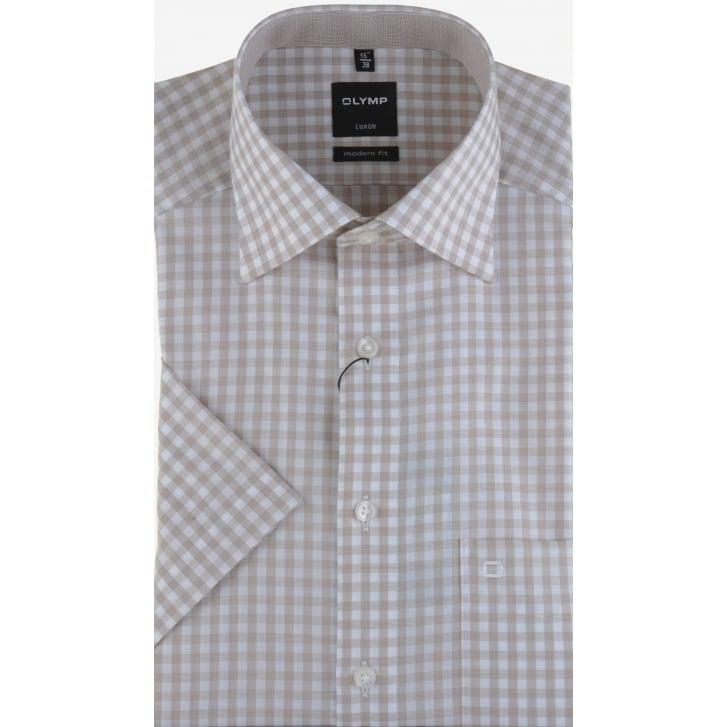 OLYMP Cotton Gingham Short Sleeved Shirt