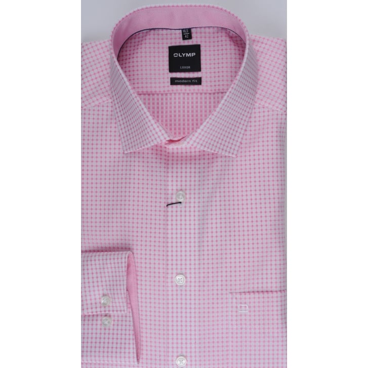 OLYMP Cotton Pink Checked Shirt