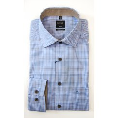 Cotton Prince of Wales Blue Check  Shirt with Contrasting Trim
