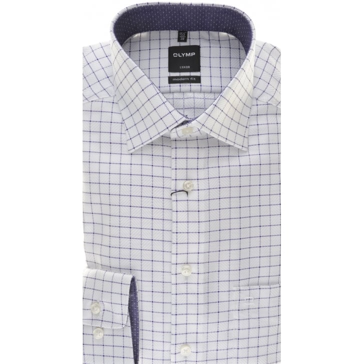 OLYMP Cotton Purple Check Shirt on a White Background