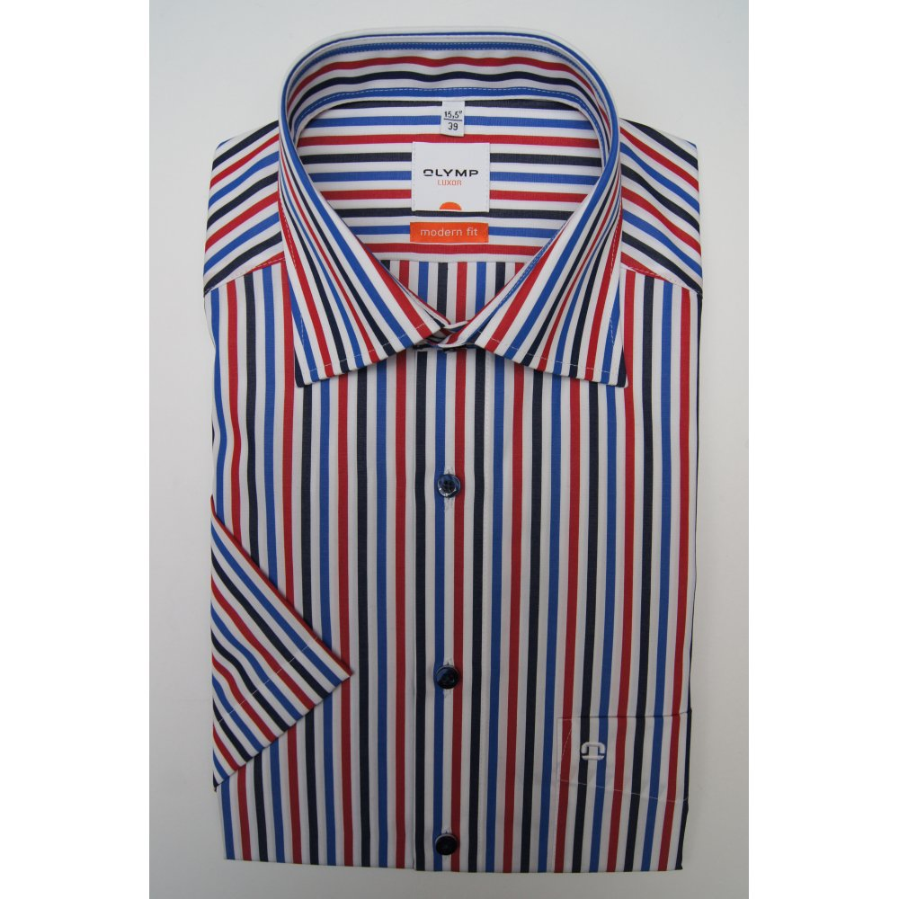 Olymp cotton red white navy and blue stripe short sleeved for Red blue striped shirt