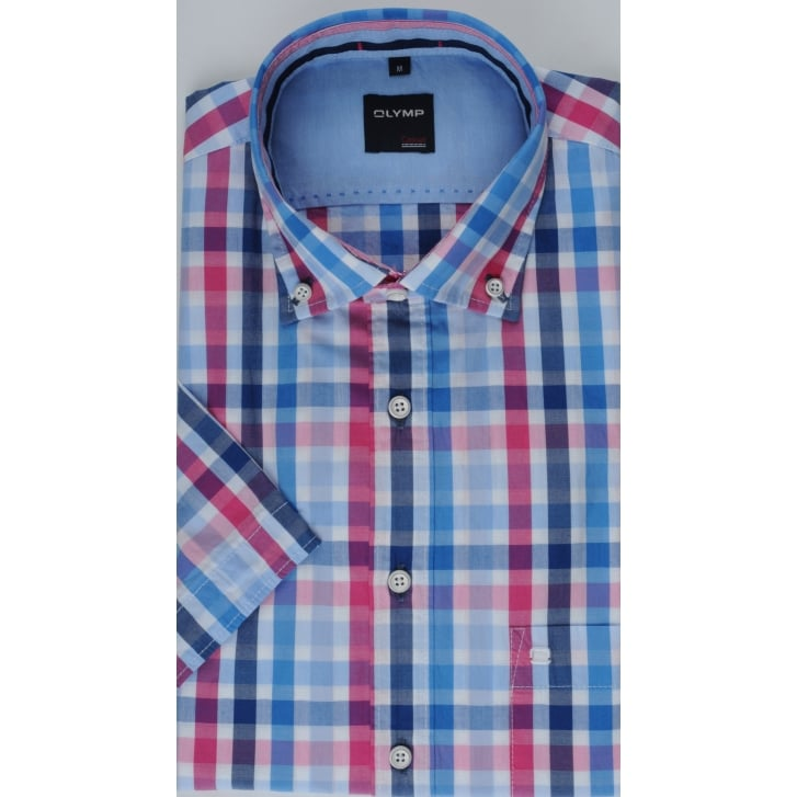 OLYMP Cotton Short Sleeved Checked Shirt
