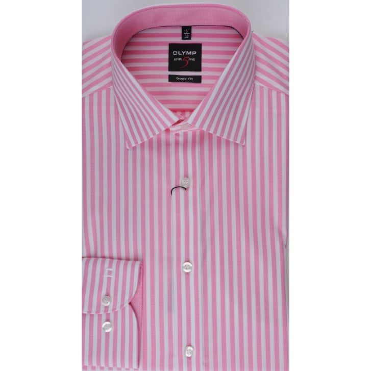 OLYMP Cotton Stretch Pink Stripe Slim Fitting Shirt