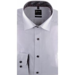 Cotton White Self Pattern Shirt with Trim