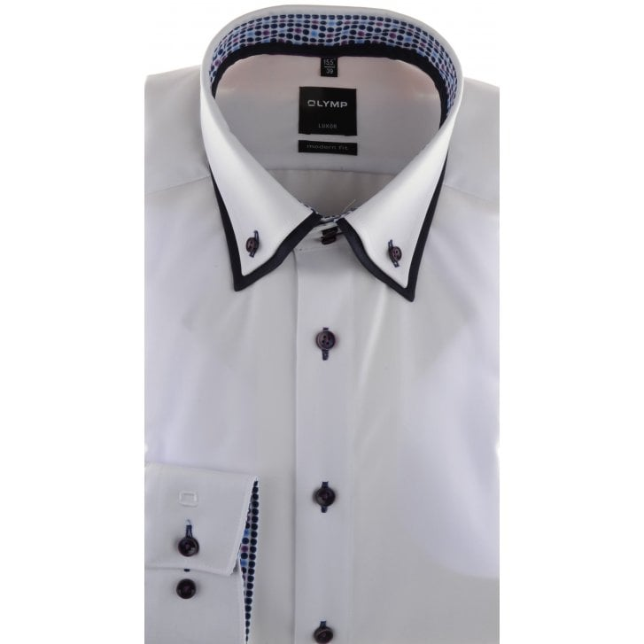 OLYMP Double Button Down Collar White Cotton Shirt