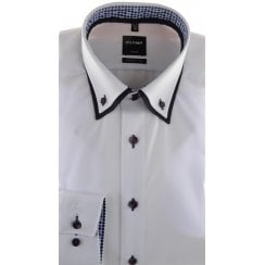 Double Button Down Collar White Cotton Shirt