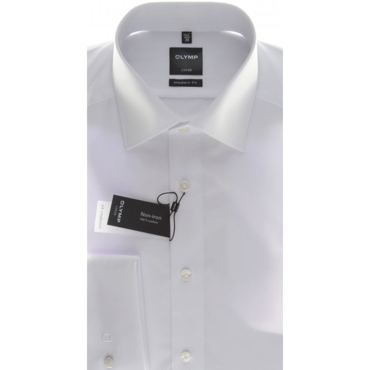 OLYMP Double Cuff White Cotton Shirt
