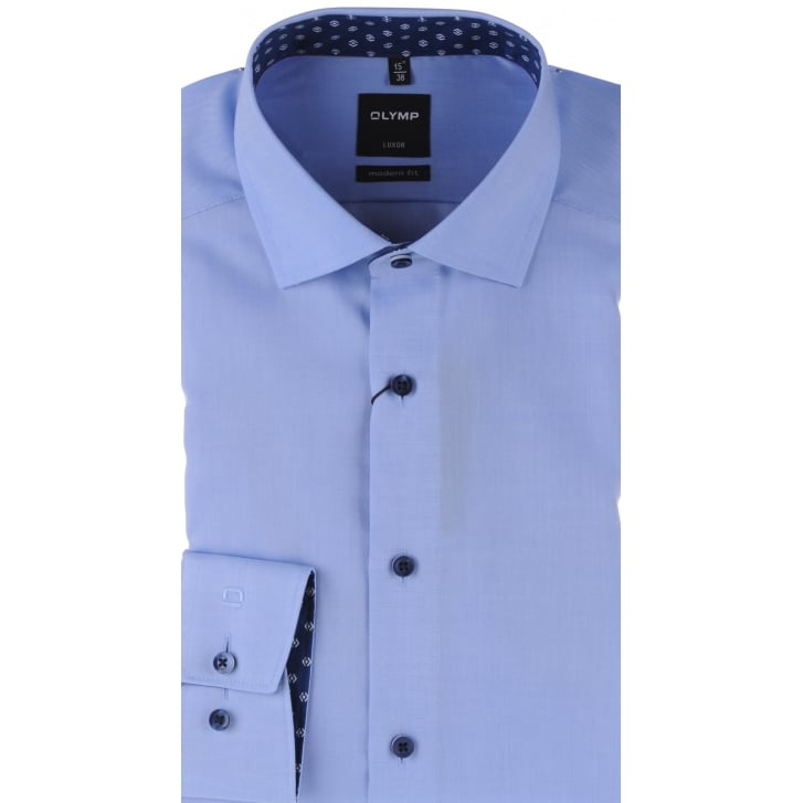 OLYMP Fine Oxford Cotton Shirt in Blue