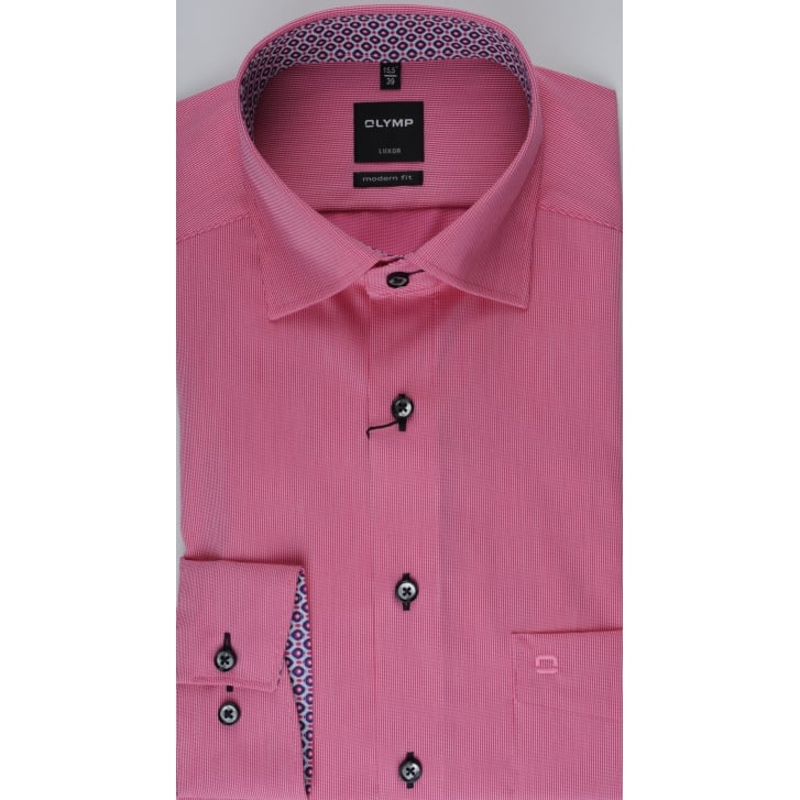 OLYMP Fine Pink Striped Cotton Shirt with Trim