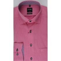 Fine Pink Striped Cotton Shirt with Trim