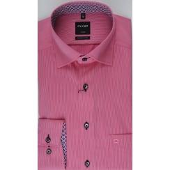 Fine Pink Striped Cotton Shirt with Trim